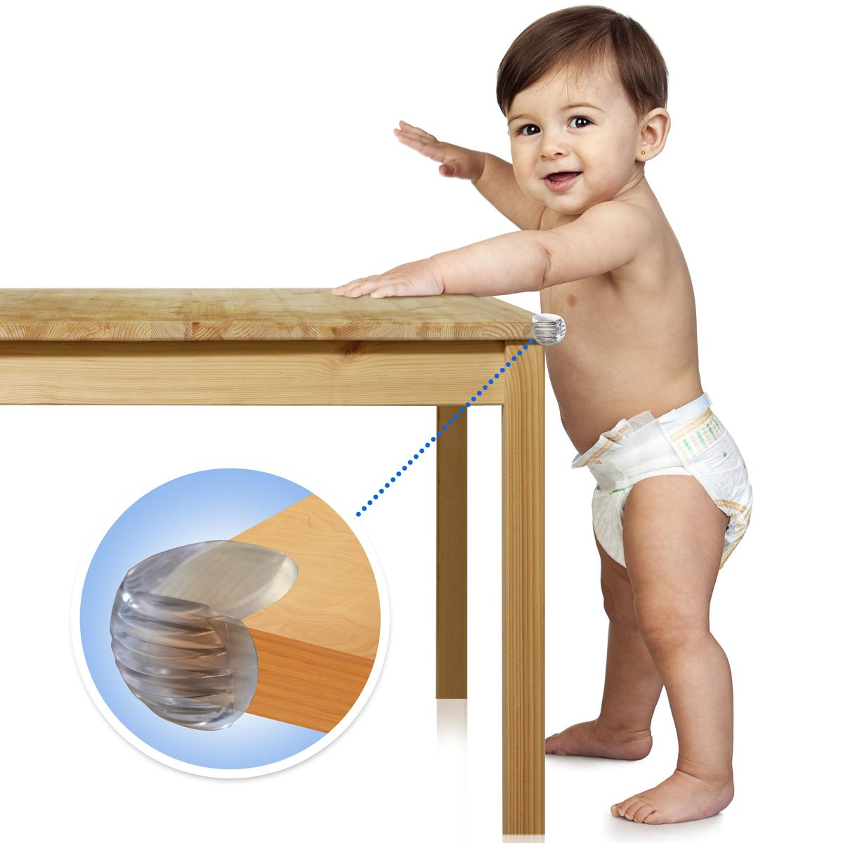 A baby leaning on a table fitted with furniture babyproof corner safety protector, Best Furniture Corner Protectors