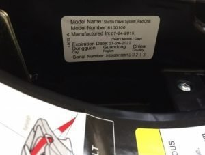 The model number on the car seat base of the recalled Combi Shuttle Travel System