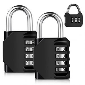 Adoric 3-Pack 4-Digit weatherproof combination lock for gym and sports locker, school locker, and a mini re-settable padlock, best lock for storage unit