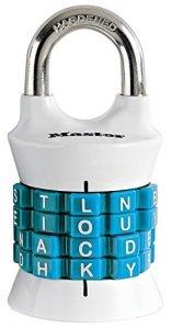 Master Lock 1535DWD Vertical Dial Resettable, Wordlock Combination Padlock, Word Combo Lock, best lock for gym locker