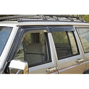 Rugged Ridge Smoked Acrylic Front and Rear Window Rain Deflector, wind deflector for trucks roof