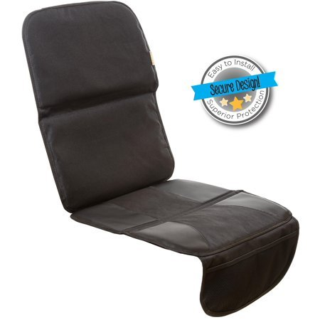 Ultra-durable baby car seat protector with sided traction grips and grime guard