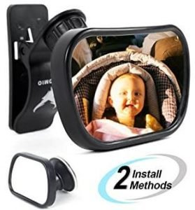AUTOMIO convex and shatterproof baby car mirror, best baby car mirror for car without a headrest, best baby car mirror for the money, baby mirror for car with no headrest