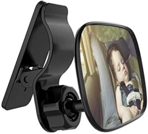 Automotive Interior Rearview Baby Car Mirror - a small child vehicle mirror for clipping on the sun visor. A rear facing back seat convex mirror for infants and toddlers