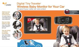 Yada BT53901F-2 4.3 Inch Tiny Traveler Digital Baby Car Monitor for cars with no headrest, trucks and SUVs. The camera transmits images to the monitor using wireless technology