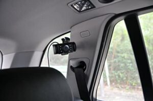 Yada BT53901F-2 4.3 inch tiny traveler digital baby camera for a car with no headrest. It has a suction cup for mounting on the windshield