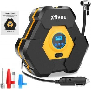 Xylee Air Compressor Tire Inflator, Best Portable DC Air Pump for Cars, Auto Digital Tire compressor with Gauge, best budget car tire inflator, best portable tire inflator for the money