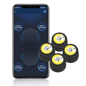 BARTUN Bluetooth Wireless Tire Pressure and Temperature Monitoring System, 4 Sensors, Supports Android and iOS. Best Bluetooth TPMS