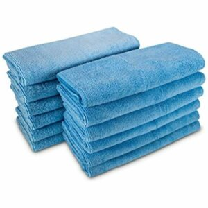 Turtle Wax 50750 Microfiber Towels, a pack of 12 microfiber towels used for cleaning a car's exterior surface