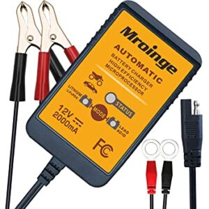 Mroinge 12V 2A Lead Acid and Lithium -LiFePO4- Fully Automatic Trickle Battery Charger and Maintainer for Car, Motorcycle etc