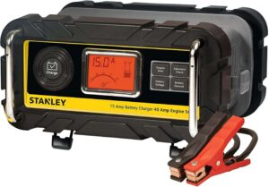 STANLEY BC15BS Fully Automatic 15 A 12V Best Bench Battery Charger, Maintainer with 40A Engine Jump Starter, Patented Alternator Check, one of the best battery tender for car