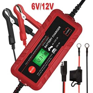 Sailnovo Smart Charger 6V, 12V, Automatic Car Battery Charger, Maintainer, Best Battery Trickle Charger with Diagnostic Testing