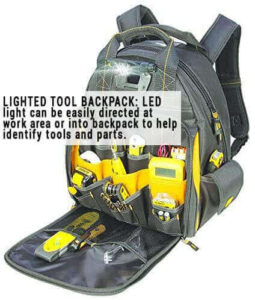 DEWALT DGL523 Lighted Tool Backpack Bag, 57-Pockets. One of the best mechanic tool bags, best tool backpack for a mechanic