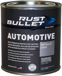 RUST BULLET Automotive - Rust Preventive Protective Coating, Best Rust Inhibitor Paint, Best UV Resistant Undercoating - No Topcoat Needed (Quart, Metallic Gray). best undercoating for truck, best undercoating for cars