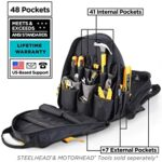 STEELHEAD 48-Pocket Heavy-Duty Tool Backpack, Padded Back Support, Reinforced Bottom, Rubber Feet, Perfect for Mechanics and other technicians. best heavy duty tool backpack