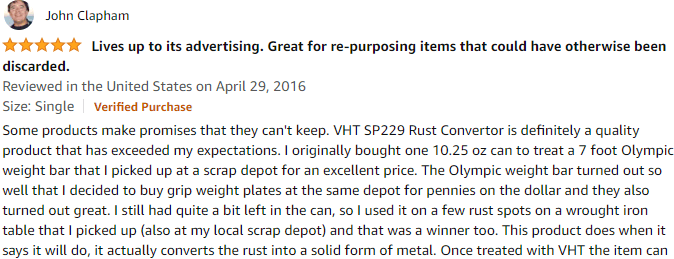 VHT SP229 Rust Convertor Can - 10.25 oz. Review by a verified customer on Amazon