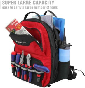WORKPRO Tool Backpack - 41-Pocket Heavy Duty Jobsite Tool Bag with Padded Laptop Sleeve. Perfect backpack for a mechanic